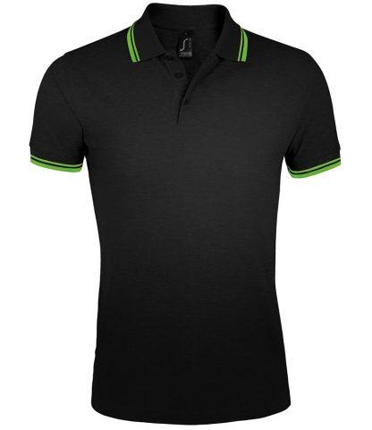 SOLS Pasadena Polo Shirt Black/lime 3XL (10577 BK/LM 3XL)