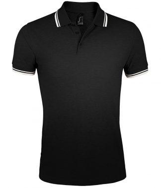 SOLS Pasadena Polo Shirt Black/white 3XL (10577 BK/WH 3XL)
