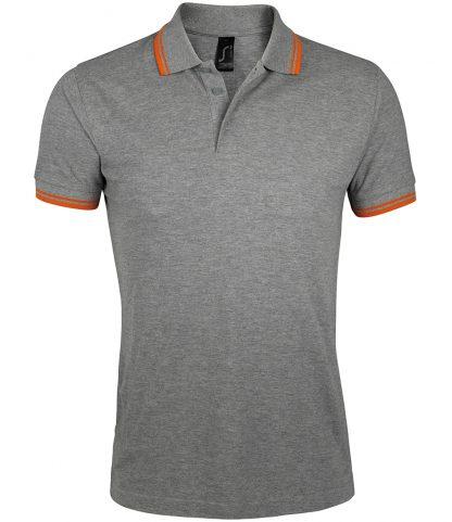 SOLS Pasadena Polo Shirt Grey marl/orange 3XL (10577 GM/OR 3XL)