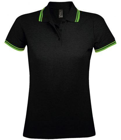 SOLS Lds Pasadena Polo Shirt Black/lime XXL (10578 BK/LM XXL)