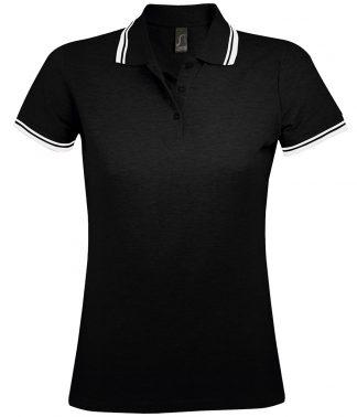 SOLS Lds Pasadena Polo Shirt Black/white XXL (10578 BK/WH XXL)
