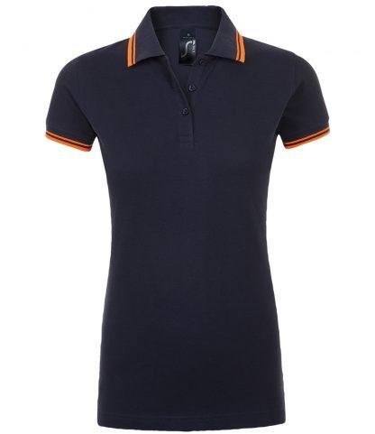 SOLS Lds Pasadena Polo Shirt Fr. navy/neon ora XXL (10578 FN/NO XXL)
