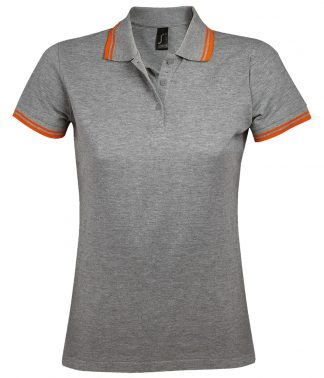 SOLS Lds Pasadena Polo Shirt Grey marl/orange XXL (10578 GM/OR XXL)
