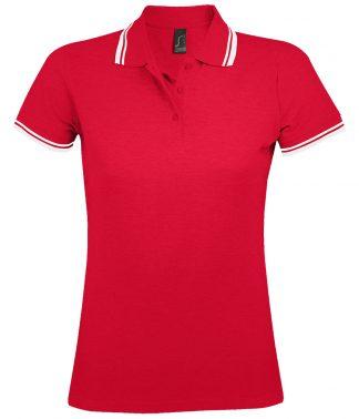 SOLS Lds Pasadena Polo Shirt Red/white XXL (10578 RD/WH XXL)