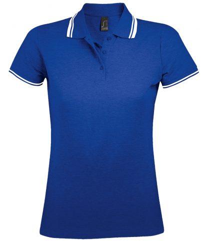 SOLS Lds Pasadena Polo Shirt Royal/white XXL (10578 RY/WH XXL)