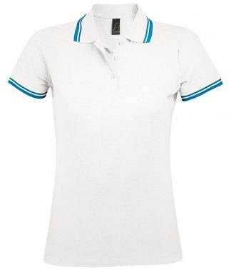 SOLS Lds Pasadena Polo Shirt White/aqua Blue XXL (10578 WH/AQ XXL)