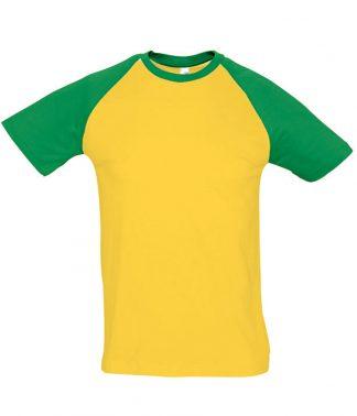 SOLS Funky Contrast T-Shirt Gold/kelly 3XL (11190 GO/KG 3XL)