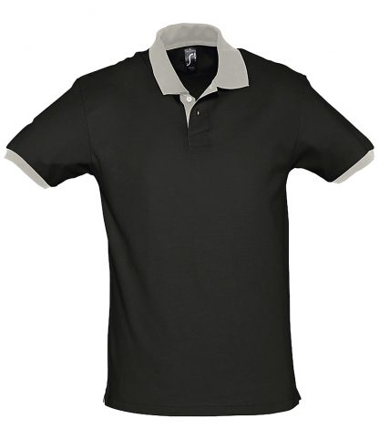 SOLS Prince Contrast Polo Black/light Grey XXL (11369 BK/LG XXL)