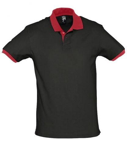 SOLS Prince Contrast Polo Black/red XXL (11369 BK/RD XXL)