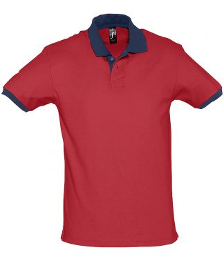 SOLS Prince Contrast Polo Red/fr. navy XXL (11369 RD/FN XXL)