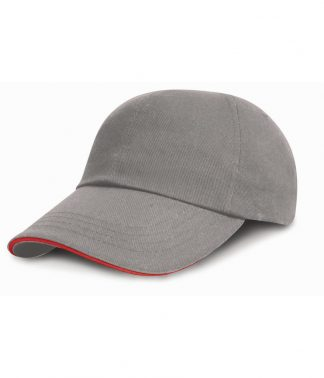 Result Heavy Brushed Cap Sandwich Peak Grey/red ONE (RC024P GY/RD ONE)