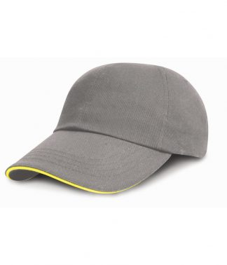 Result Heavy Brushed Cap Sandwich Peak Grey/yellow ONE (RC024P GY/YL ONE)